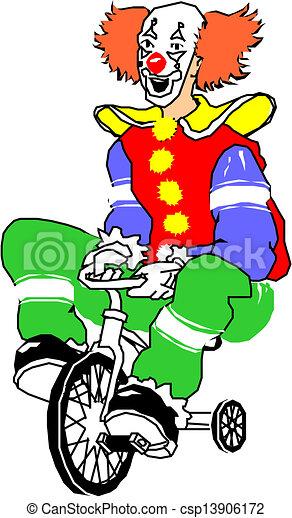 fietsende , clown, vrolijke  - csp13906172