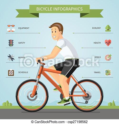 fietsende , spotprent, man - csp27198562