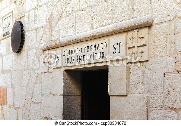Fifth Stop at Via Dolorosa in Old City, Jerusalem - csp30304672