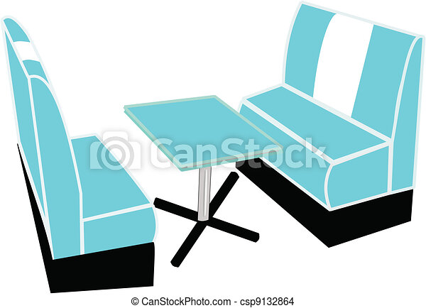 Fifties Booth With Table Vector