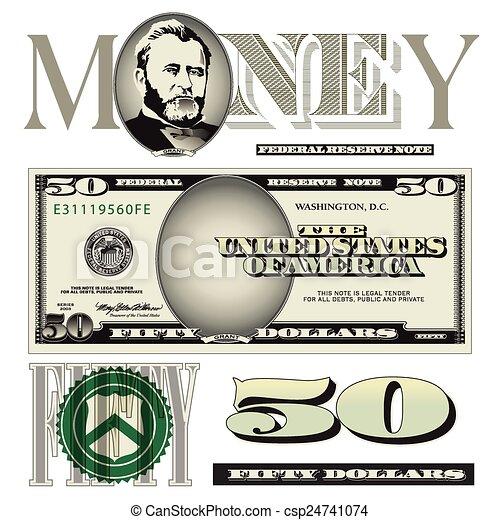 Fifty dollar bill elements - csp24741074