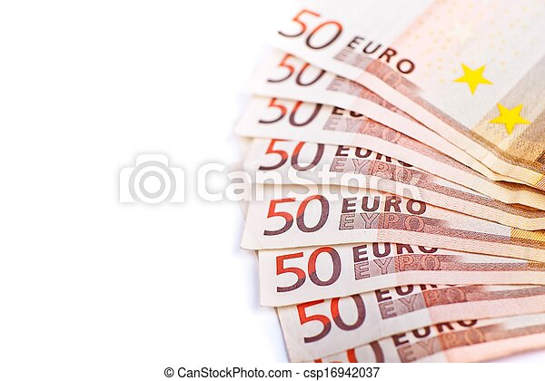 Fifty Euros Bills Isolated - csp16942037