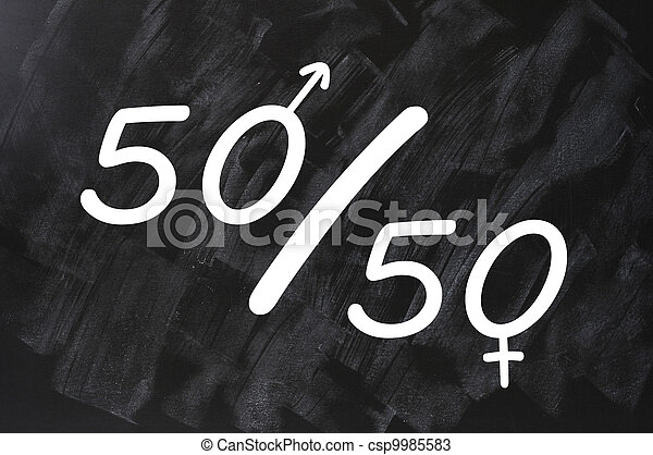 Fifty percent concept of gender equal opportunities - csp9985583