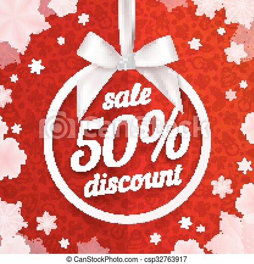 Fifty percents Christmas sale discount white ribbon tag with silky bow on red background - csp32763917