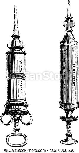 Fig.1155. Syringe pure tin or nickel, Fig. 1156. Hard rubber syringe, vintage engraved illustration. Usual Medicine Dictionary by Dr Labarthe - 1885. - csp16000566