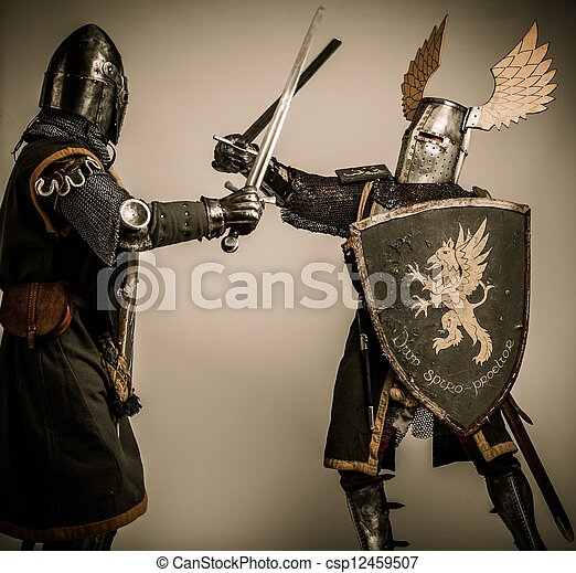 Fight between two medieval knight - csp12459507