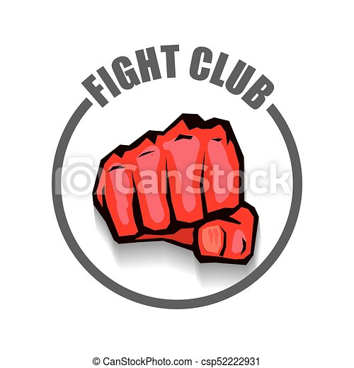 fight club vector logo with red man fist isolated on white rh canstockphoto com fighting cancer logos fighting game logos