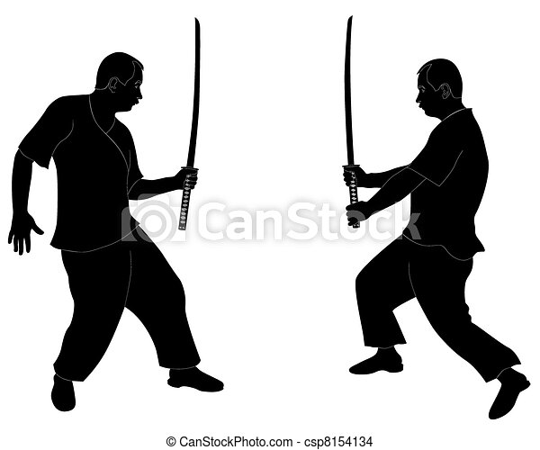 Fight The Japanese Sword Black Silhouettes Of Men With