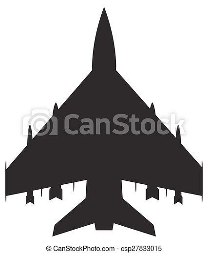 Fighter Jet Silhouette A Fighter Jet Silhouette Isolated On A White Background