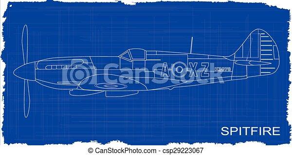 Fighter plane blueprint a supermarine world war ii spitfire clip fighter plane blueprint csp29223067 malvernweather Choice Image
