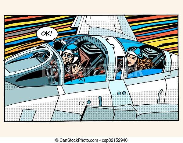 fighter plane pilot man woman success aviation - csp32152940