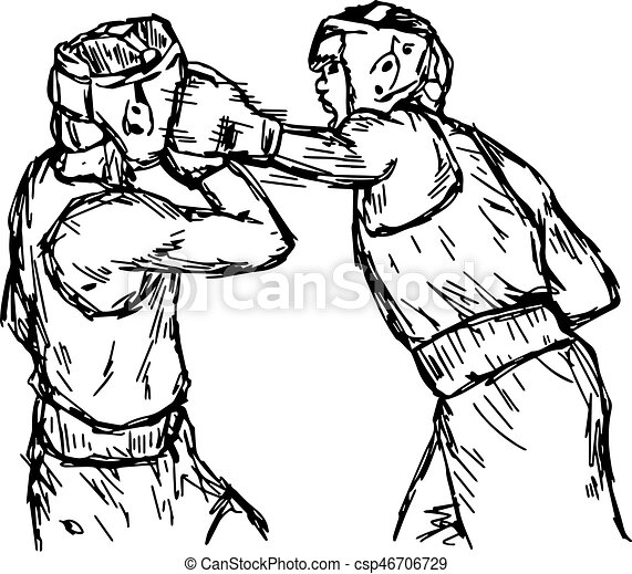 fighting boxers with boxing head guard vector illustration sketch rh canstockphoto com Silhouette Boxing Bag Printable Boxing Gloves