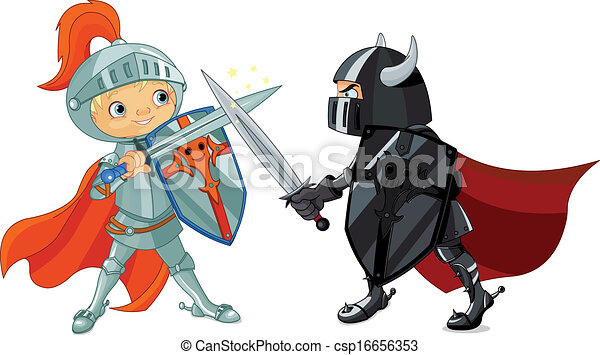 fighting knights illustration of two fighting knights rh canstockphoto com knights clipart pictures knight clip art black and white