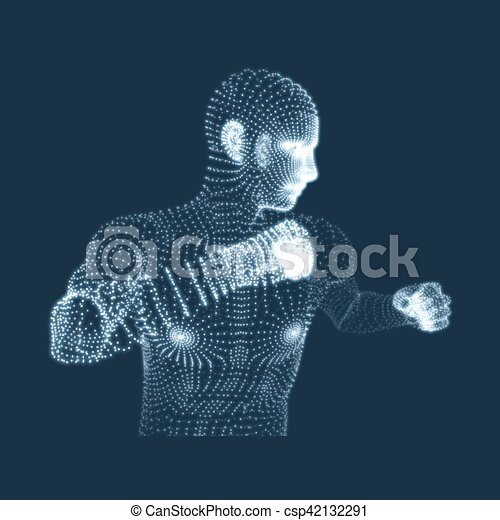 Fighting Man  3D Model of Man  Human Body Model  Body Scanning  View of  Human Body  Vector Graphics Composed of Particles