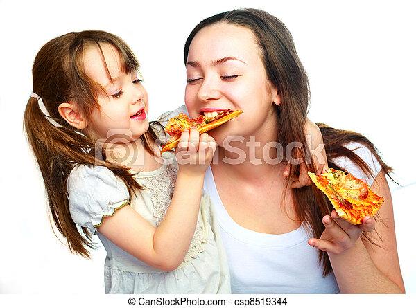 figlia, madre, consumo pizza - csp8519344