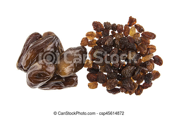 figs and raisins isolated on white background - csp45614872