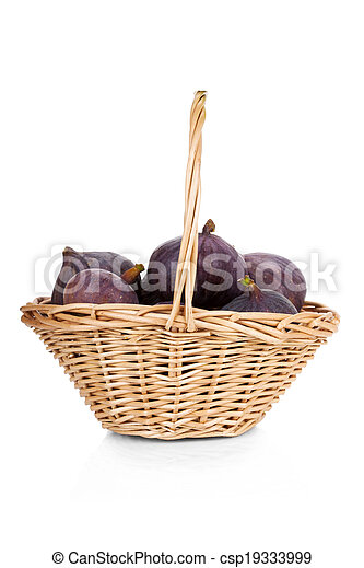 Figs in a basket isolated on white background - csp19333999