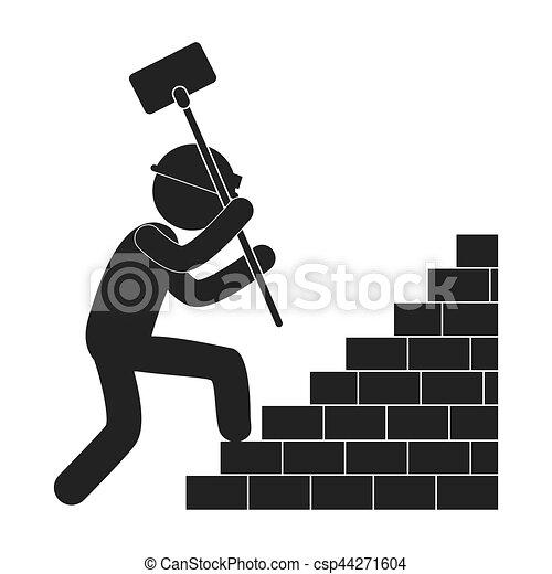 Un martillo de obrero subiendo escaleras de ladrillo pictograma - csp44271604