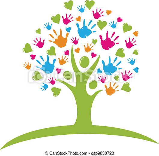 figuras, corações, árvore, mãos - csp9830720
