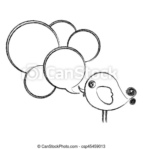 figure bird with many chat bubbles icon - csp45459013
