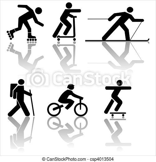 Figure exercising hiking skiing - csp4013504
