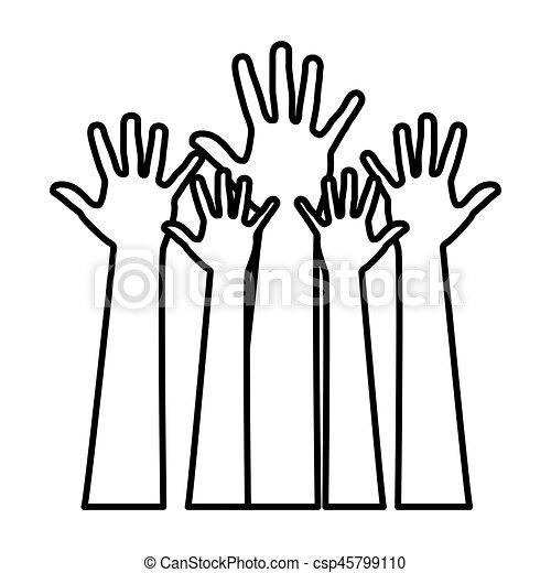figure hands up icon vector illustration design vector clip art rh canstockphoto com hand drawn icon vector hand icon vector eps