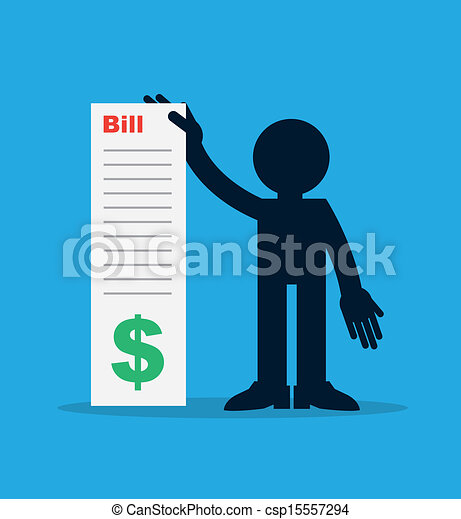 Figure Holding Large Bill  - csp15557294