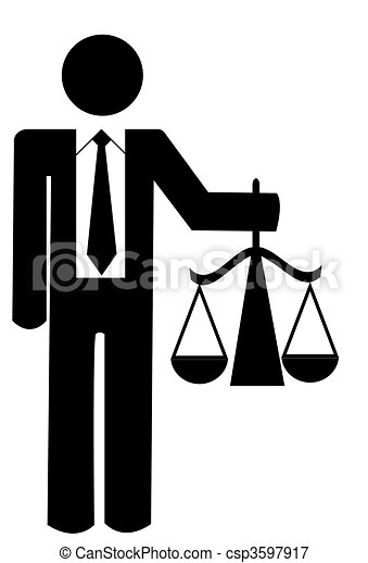 figure holding up scales of justice - csp3597917