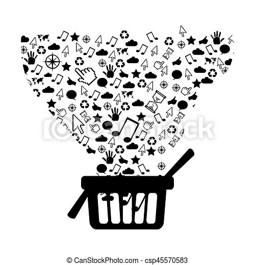 figure market basket with technological icon - csp45570583