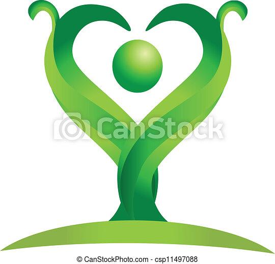 Figure of green nature logo vector - csp11497088