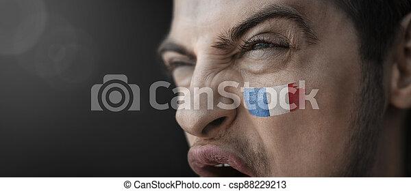 figure, sien, image, national, crier, homme, drapeau, france - csp88229213