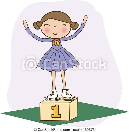 Figure skater 1st on the winner podium. Vector. - csp14189876