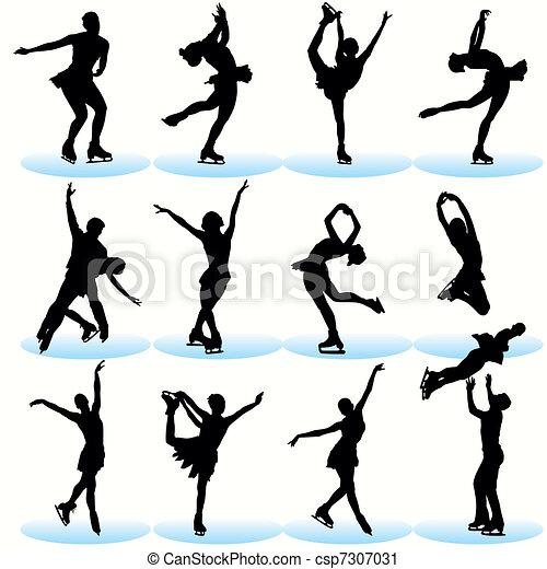 Figure Skating Silhouettes Set - csp7307031