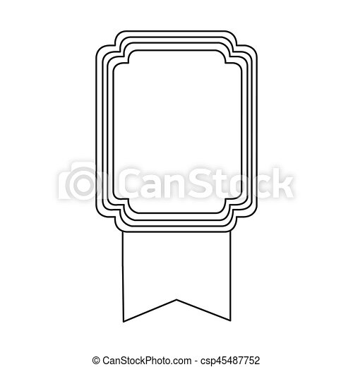 figure square emblem with ribbon icon - csp45487752