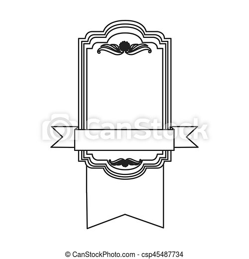figure square emblem with ribbon icon - csp45487734