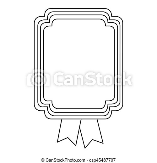 figure square emblem with ribbon icon - csp45487707