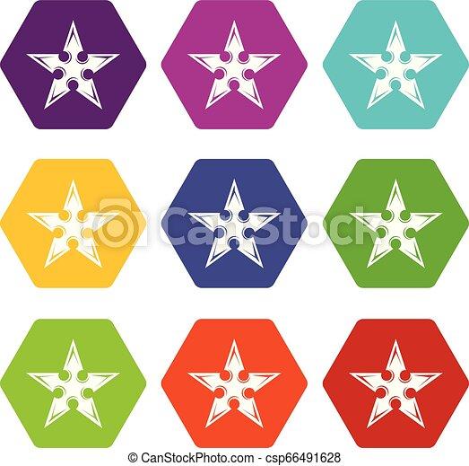 Figure star icons set 9 vector - csp66491628