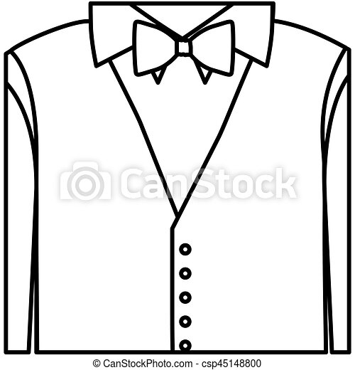 figure sticker shirt with bow tie and waistcoat vector rh canstockphoto com  white shirt and tie clipart