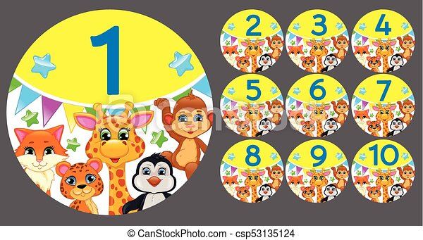 Figures 1 to 10 in a circle with animals - csp53135124