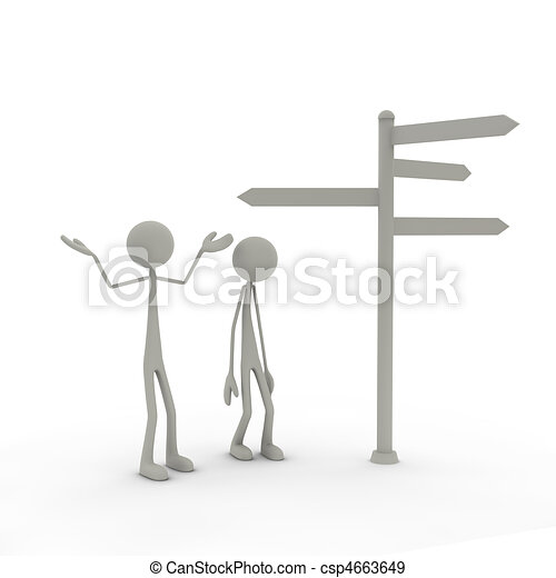 Figures with direction sign arms up - csp4663649