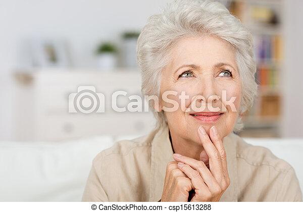 figyelmes, hölgy, idősebb ember - csp15613288