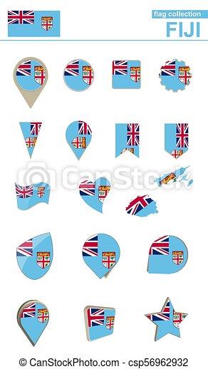 Fiji Flag Collection Big Set For Design
