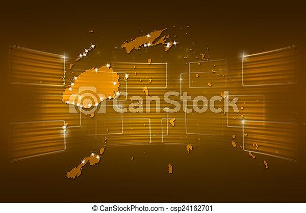 Fiji Islands Map World Map News Communication Yellow Gold