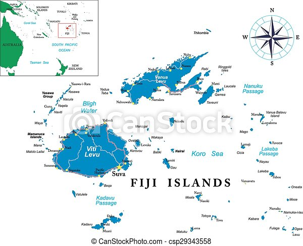 Fiji map highly detailed vector map of fiji with main cities and roads fiji map csp29343558 gumiabroncs Gallery