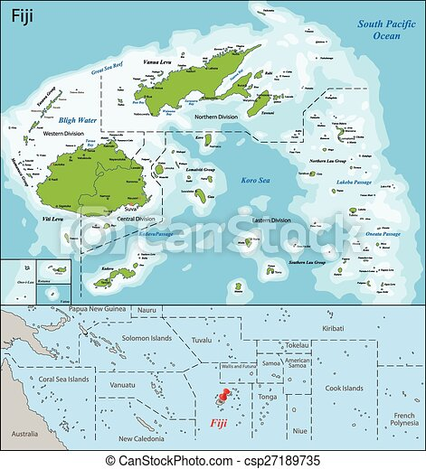 Fiji map fiji is an island country in melanesia in the south fiji map csp27189735 gumiabroncs Gallery