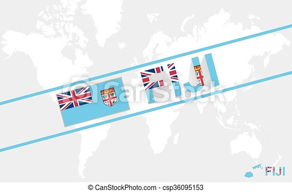 Fiji Map Flag And Text Illustration