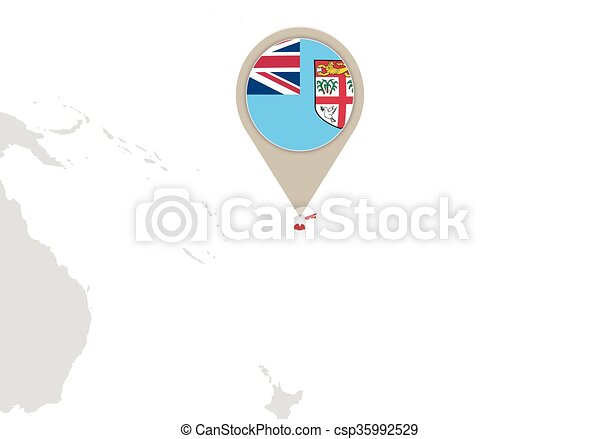 Fiji on world map map with highlighted fiji map and flag vector fiji on world map vector gumiabroncs Gallery