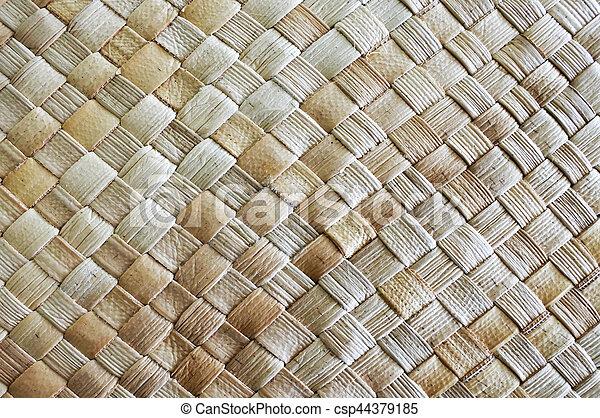 Fijian coconut Palm leaves weaving background - csp44379185