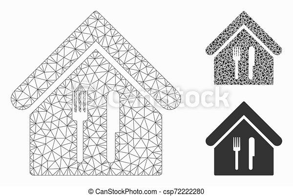 fil, triangle, restaurant, cadre, maille, vecteur, modèle, mosaïque, icône - csp72222280
