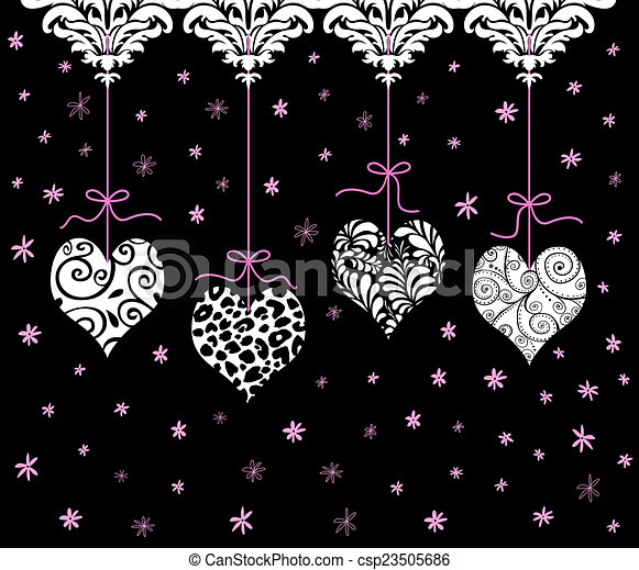 Corazón de San Valentín rojo colgando en una fila - csp23505686